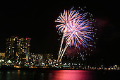 Feb 25, 2007; Honolulu, HI - Friday night fireworks in front of the Hilton Hawaiian Village in Waikiki...Photo credit: Darrell Miho