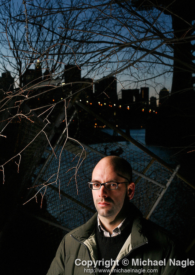 BROOKLYN - DECEMBER 16, 2006:  Brian Wood, creator of DMZ, poses along the East River waterfront in Dumbo on December 16, 2006 in Brooklyn.  DMZ is a graphic novelization of Manhattan in the midst of an American civil war.  (PHOTOGRAPH BY MICHAEL NAGLE)