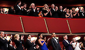 Neil Diamond (L), actress Meryl Streep (2L), musician Yo-Yo Ma (3L), first lady Michelle Obama (C) and others clap while United States President Barack Obama (3R) listens during a live taping of the annual Kennedy Center Honors, Sunday, December 4, 2011 in Washington, DC.  For their accomplishments and contributions to the arts actress Meryl Streep, singer Neil Diamond, actress Barbara Cook, musician Yo-Yo Ma, and musician Sonny Rollins were recognized as this year's recipients of the Kennedy Center Honors..Credit: Brendan Smialowski / Pool via CNP