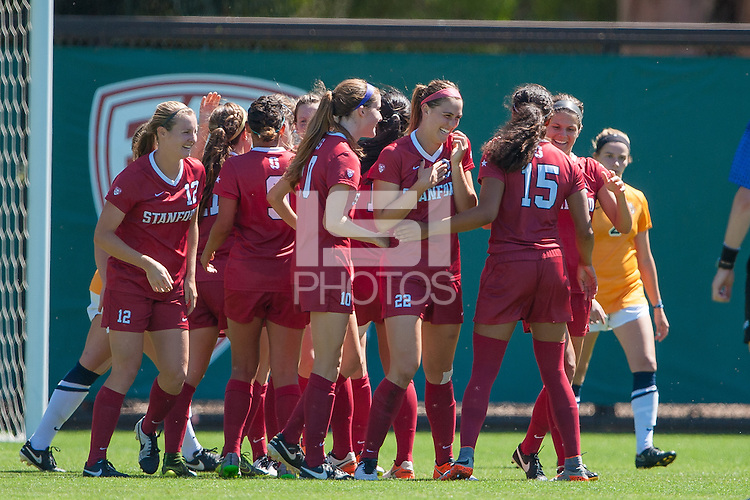 Stanford, CA - September 4, 2016:  Jordan Dibiasi Team during the Stanford vs Marquette Women's soccer match in Stanford, California.  The Cardinal defeated the Golden Eagles 3-0.
