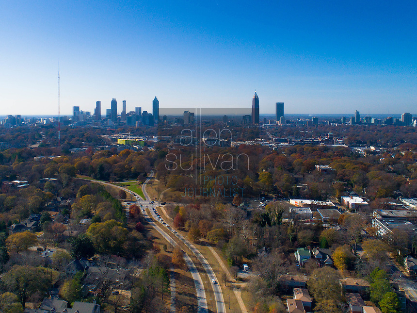 Partial skyline of Atlanta, Georgia downtown as seen from Freedom Park. Freedom Parkway is the road running from center up.