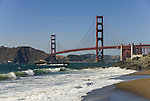San Francisco: Baker Beach with Golden Gate Bridge in background.  Photo # 2-casanf83374.  Photo copyright Lee Foster