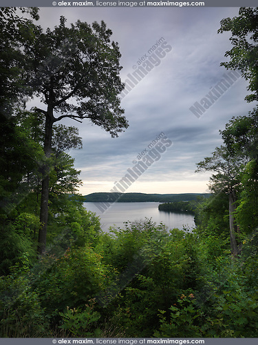 Algonquin Provincial Park view on Smoke Lake summertime nature scenery. Ontario, Canada.