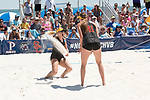 GULF SHORES, AL - MAY 07: Terese Cannon (41) and Nicolette Martin (35) of the University of Southern California celebrate winning a point against Pepperdine University during the Division I Women's Beach Volleyball Championship held at Gulf Place on May 7, 2017 in Gulf Shores, Alabama.The University of Southern California defeated Pepperdine 3-2 to claim the national championship. (Photo by Stephen Nowland/NCAA Photos via Getty Images)