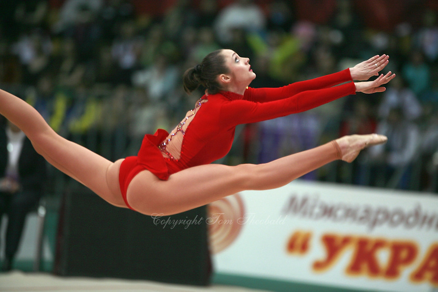 "Anna Bessonova of Ukraine split leaps with clubs at 2008 World Cup Kiev, ""Deriugina Cup"" in Kiev, Ukraine on March 23, 2008."