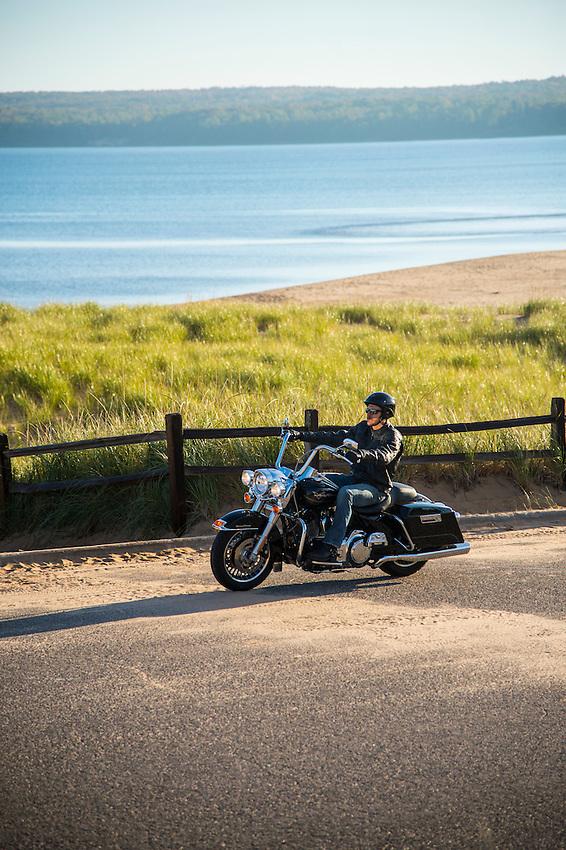Motorcycle touring along Lake Superior on Michigan's Upper Peninsula near Munising and Marquette, Michigan.