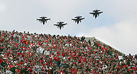 A formation of military F-16 aircraft fly over Ohio Stadium before start of the football game against Illinois Nov. 3, 2007. (Columbus Dispatch photo by Fred Squillante)