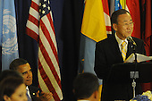 United States President Barack Obama, lower left, listens as United Nations Secretary General Ban Ki-Moon speaks before lunch at UN Headquarters in New York, New York on Wednesday, September 21, 2011..Credit: Aaron Showalter / Pool via CNP