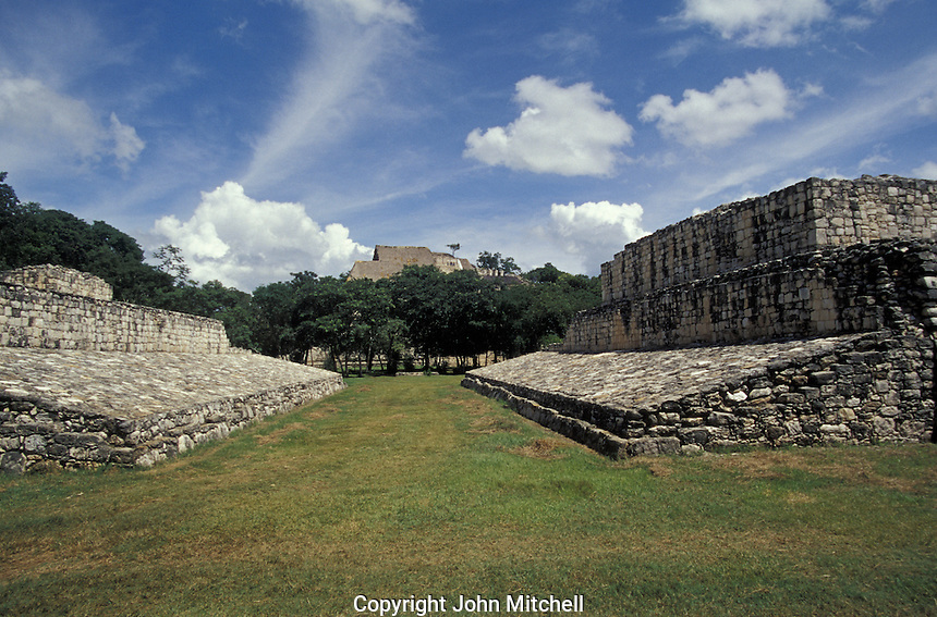 The Ball Court with the Acropolis in the background at the Mayan ruins of Ek' Balam, Yucatan, Mexico