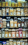 A selection of pasta in a store in the Spaccanapoli district of Naples.