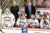 Brian Billett (BC - 1), John Hegarty (BC - Dir-Hockey Ops), Patrick Wey (BC - 6), Greg Brown (BC - Assistant Coach), Patch Alber (BC - 3), Bert Lenz (BC - Trainer), Isaac MacLeod (BC - 7) - The Boston College Eagles defeated the Merrimack College Warriors 4-2 to give Head Coach Jerry York his 900th collegiate win on Friday, February 17, 2012, at Kelley Rink at Conte Forum in Chestnut Hill, Massachusetts.