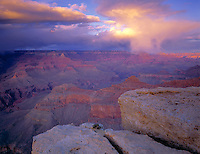 Grand Canyon National Park, AZ<br /> Evening light on gathering storm clouds - from the South Rim near Yavapai Point