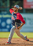 29 June 2014:  Lowell Spinners pitcher Heri Quevedo on the mound against the Vermont Lake Monsters at Centennial Field in Burlington, Vermont. The Spinners defeated the Lake Monsters 7-5 in NY Penn League action. Mandatory Credit: Ed Wolfstein Photo *** RAW Image File Available ****