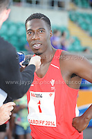 International athletics at Cardiff International stadium, Cardiff, South Wales - Tuesday 15th July 2014<br /> <br /> Christian Malcolm is interviewed by the press on retiring from athletics and run his final race. <br /> <br /> <br /> Photo by Jeff Thomas Photography