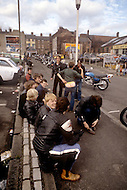 August 1981. Newcastle area, England. Young motorcyclists travel together and inexpensively.