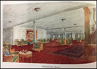 BNPS.co.uk (01202 558833)<br /> Pic: HAldridge/BNPS<br /> <br /> The reception room.<br /> <br /> Incredibly rare illustrations and photos of the opulent surroundings of the Titanic have come to light in two brochures which describe the doomed ship as 'practically unsinkable.'<br /> <br /> The colour drawings depict the plush accommodation and facilities that first and second class passengers enjoyed on the luxury liner.<br /> <br /> They offer rare glimpses of the promenade deck, reading room, swimming baths, smoking room, main staircase, the Turkish bath, state room and parlour suit accommodation, dining room and reception room.<br /> <br /> Alongside the images there is an equally scarce copy of the sailing schedule for the doomed ship, highlighting its 'lost' trans-Atlantic service.<br /> <br /> The itinerary shows the Titanic would have gone on to make four trips from Southampton to New York between April to July 1912 had it not sunk on its maiden voyage with the loss of 1,522 lives.<br /> <br /> The two brochures and sailing schedule have now been put up for sale 105 years after the tragedy. They have a pre-sale estimate of a combined &pound;20,000.