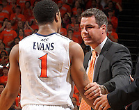 Jan. 22, 2011; Charlottesville, VA, USA; Virginia Cavaliers head coach Tony Bennett reacts to a foul caused by Virginia Cavaliers guard Jontel Evans (1) during the game after the game at the John Paul Jones Arena. Virginia won 72-64. Mandatory Credit: Andrew Shurtleff