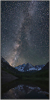 Between 3 and 4am during the summer months, the Milky Way rises over the iconic Maroon Bells near Aspen. This Colorado image is a vertical stitch of 3 images, and captured on a perfectly still, calm early morning.