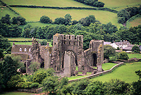 Wales, Ruins of Llanthony Priory, from Offa's Dyke Footpath on the Black Mountains Ridge, near Abergavenny.  Founded 1103.