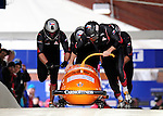 22 November 2009:  Ivo Danilevic, piloting the Czech Republic bobsled, leads his 4-man team to a 10th place finish at the FIBT World Cup competition, in Lake Placid, New York, USA. Mandatory Credit: Ed Wolfstein Photo