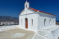 A small church above Chora which is the capital of Andros island, Greece