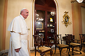 Pope Francis arrives to meet with The Speaker of the United States House of Representatives John Boehner (Republican of Ohio), in the U.S. Capitol building before delivering his speech to a joint meeting of Congress on Thursday, September 24, 2015. <br /> Credit: Bill Clark / Pool via CNP