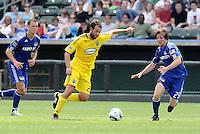 Adam Moffat (yellow), Jonathan Leathers...Kansas City Wizards were defeated 1-0 by Columbus Crew at Community America Ballpark, Kansas City, Kansas.