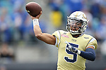 Quarterback Justin Thomas #5 of the Georgia Tech Yellow Jackets throws a pass during the second half of the TaxSlayer Bowl against the Kentucky Wildcats at EverBank Field on Saturday, December 31, 2016 in Jacksonville, Florida. Photo by Michael Reaves | Staff.