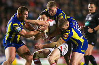 Picture by Alex Whitehead/SWpix.com - 16/03/2017 - Rugby League - Betfred Super League - Leigh Centurions v Warrington Wolves - Leigh Sports Village, Leigh, England - Leigh's Mitch Brown is tackled by Warrington's Jack Hughes, Joe Westerman and Mike Cooper.