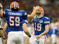 01 January 2010:  John Fairbanks of Florida celebrates with Caleb Sturgis of Florida after Sturgis scored PAT during the game against Cincinnati during Sugar Bowl at the SuperDome in New Orleans, Louisiana.  Florida defeated Cincinnati, 51-24.