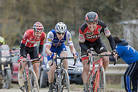 Greg Van Avermaet (BEL/BMC) leads the chase behind race leader Kwiatkowski ahead of Zdenek Stybar (CZE/QuickStep Floors) &amp; Tim Wellens (BEL/Lotto-Soudal)<br /> <br /> 11th Strade Bianche 2017