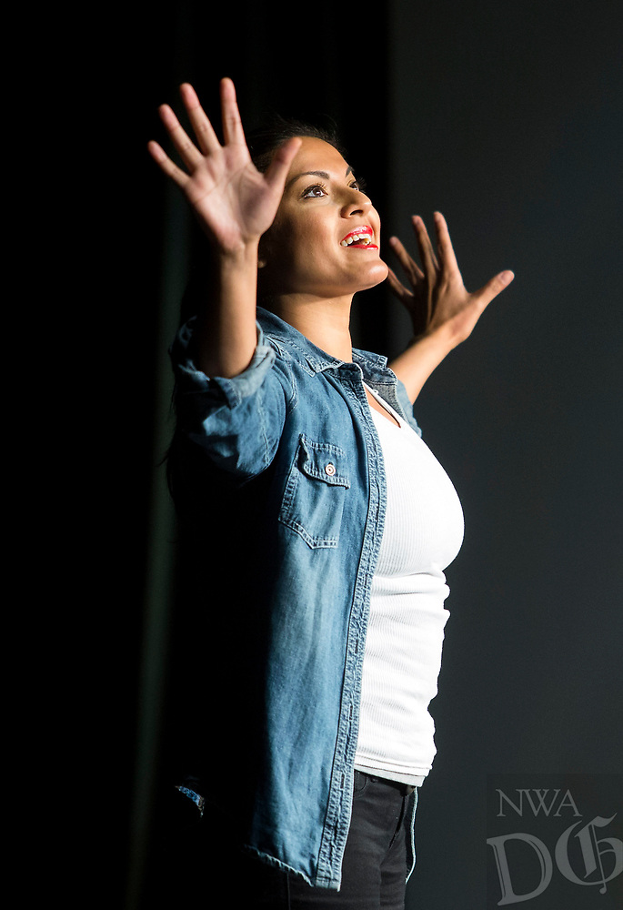 NWA Democrat-Gazette/JASON IVESTER<br /> Qurrat Ann Kadwani performs her solo play, &quot;They Call Me Q,&quot; Wednesday, April 19, 2017, at Northwest Arkansas Community College in Bentonville. The performance was part of the school's Spring Arts and Culture Festival which continues through today (THURSDAY).