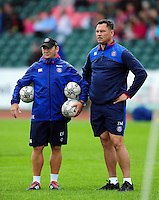Bath Rugby first team coach Darren Edwards and Head Coach Tabai Matson look on during the pre-match warm-up. Pre-season friendly match, between the Scarlets and Bath Rugby on August 20, 2016 at Eirias Park in Colwyn Bay, Wales. Photo by: Patrick Khachfe / Onside Images