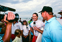 Brad Gerlach (USA)  buckled down in 1991 and made a serious run at the world title, finding the winner's circle in Australia's Coke Classic  with Todd Holland (USA) finishing runner up.  Here he is being interviewed after his win by Ian Cairns (AUS) for ESPN.  circa 1991 Photo: joliphotos.com