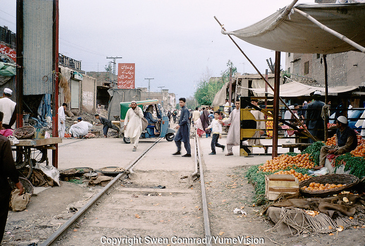 Street market along the railway to the Afghan Khyber pass, Peshawar Pakistan