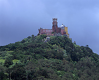 A view of the palace which stands on the top of a hill above the town of Sintra