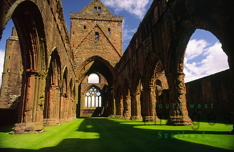 The ruined arches of Sweetheart Abbey at New Abbey near Dumfries Scotland UK
