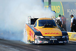 May 18, 2012; Topeka, KS, USA: NHRA funny car driver Jeff Arend during qualifying for the Summer Nationals at Heartland Park Topeka. Mandatory Credit: Mark J. Rebilas-
