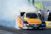 May 18, 2012; Topeka, KS, USA: NHRA funny car driver Jeff Arend during qualifying for the Summer Nationals at Heartland Park Topeka. Mandatory Credit: Mark J. Rebilas-