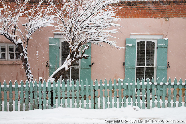 One of the oldest buildings on Canyon Road in Santa Fe, El Zaguan takes on a beautiful abstract look during a winter snow storm.