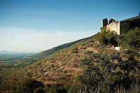 14th Century Poreta Castle, at the foothills of the Apennines, overlooking the Spoleto Valley, Umbria, Italy