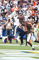 San Diego Chargers tight end Ladarius Green #89 and Cleveland Browns strong safety Donte Whitner #31 during an NFL game played at Qualcomm Stadium  on October 4,, 2015. (AP Photo/Michael Zito)