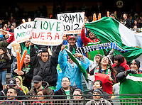 San Francisco, California - Saturday March 17, 2012: Fans cheering prior to Mexico vs Senegal U23's final Olympic qualifying tuneup. Mexico defeated Senegal 2-1