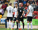 St Johnstone v Falkirk&hellip;23.07.16  McDiarmid Park, Perth. Betfred Cup<br />Mark Kerr, Tom Taiwo and Luca Gasparotto argue with ref Bobby Madden after he awrded the third penalty<br />Picture by Graeme Hart.<br />Copyright Perthshire Picture Agency<br />Tel: 01738 623350  Mobile: 07990 594431