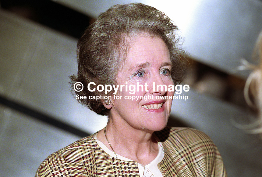 Lady Parkinson, aka Ann Parkinson, wife of Lord Parkinson aka Cecil Parkinson, former UK Conservative Party MP and government minister. Taken annual conference, October 1992. 19921071AP.<br />