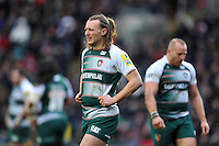 Sam Harrison of Leicester Tigers looks on during a break in play. Aviva Premiership match, between Leicester Tigers and Sale Sharks on February 6, 2016 at Welford Road in Leicester, England. Photo by: Patrick Khachfe / JMP