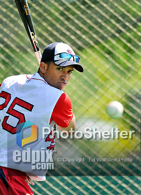30 June 2012: Lowell Spinners' outfielder Williams Jerez takes batting practice prior to a game against the Vermont Lake Monsters at Centennial Field in Burlington, Vermont. Mandatory Credit: Ed Wolfstein Photo