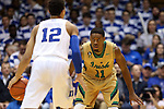 16 January 2016: Notre Dame's Demetrius Jackson (11) guards Duke's Derryck Thornton (12). The Duke University Blue Devils hosted the University of Notre Dame Fighting Irish at Cameron Indoor Stadium in Durham, North Carolina in a 2015-16 NCAA Division I Men's Basketball game. Notre Dame won the game 95-91.