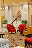 The seating area of the beautiful lobby at the DoubleTree Suites by Hilton Hotel Detroit Downtown - Fort Shelby