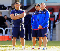 Bath Rugby coaches Toby Booth, Darren Edwards and Barry Maddocks look on. Pre-season friendly match, between Yorkshire Carnegie and Bath Rugby on August 13, 2016 at Ilkley RFC in Ilkley, England. Photo by: Ian Smith / Onside Images